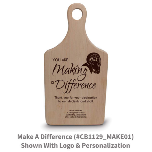 maple paddle cutting board with making a difference message