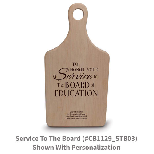 maple paddle cutting board with service to the board message