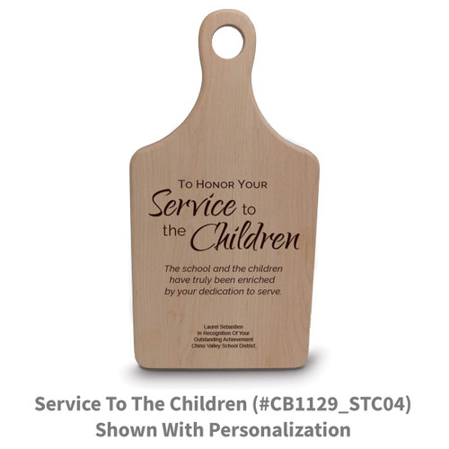maple paddle cutting board with service to the children message