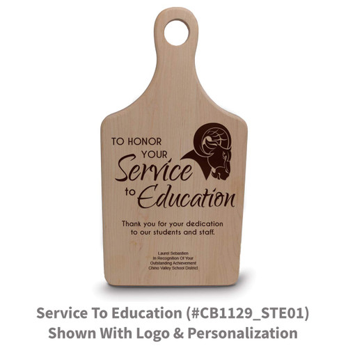 maple paddle cutting board with service to education message