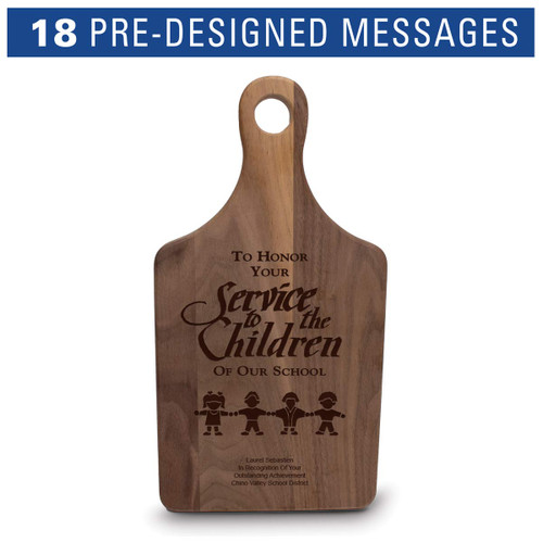 Paddle walnut cutting board with handle