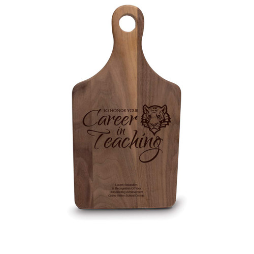 walnut paddle cutting board with career in teaching message