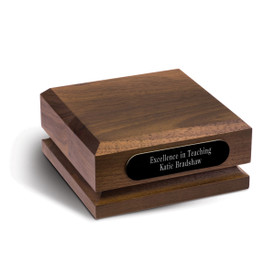walnut pedestal base with personalized black brass plate