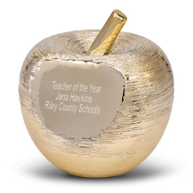 Personalized golden spun apple and stem featuring a smooth area on the front for a personalized message