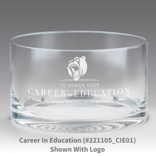 petite crystal bowl with career in education message