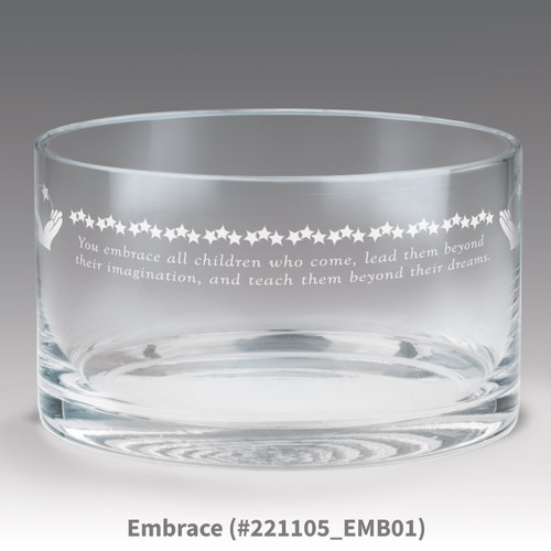 petite crystal bowl with embrace message