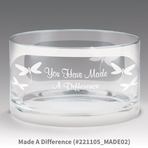 petite crystal bowl with you have made a difference message