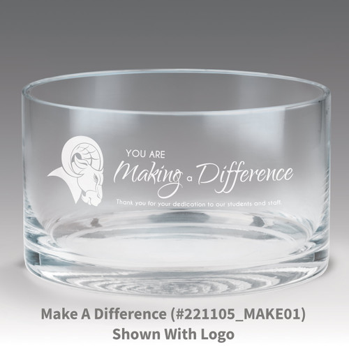 petite crystal bowl with you are making a difference message