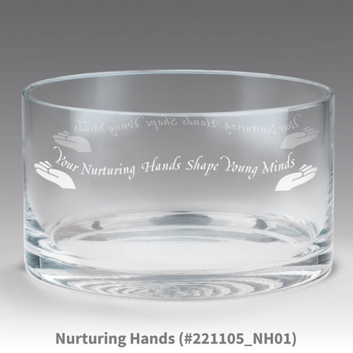 petite crystal bowl with nurturing hands message