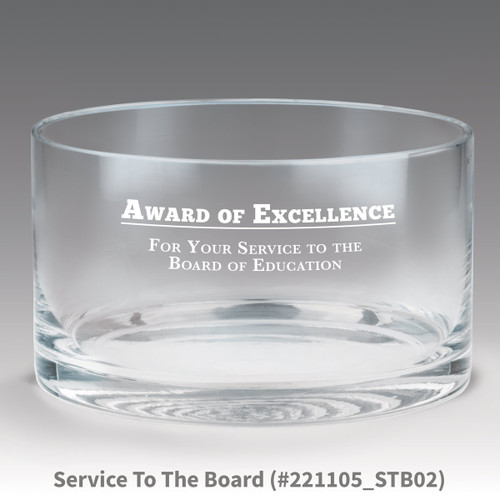 petite crystal bowl with award of excellence message
