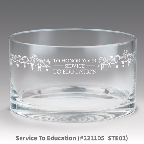 petite crystal bowl with service to education message
