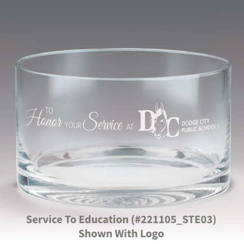 petite crystal bowl with to honor your service message