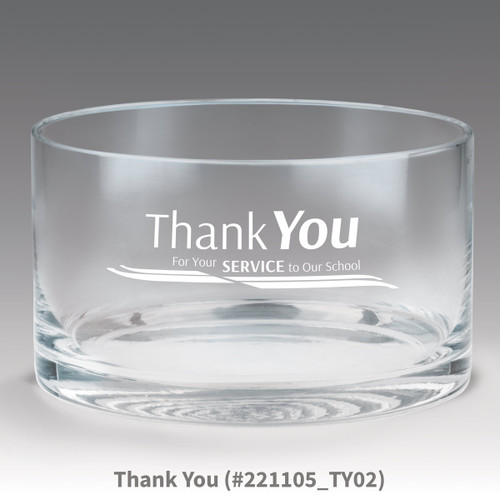 petite crystal bowl with thank you message