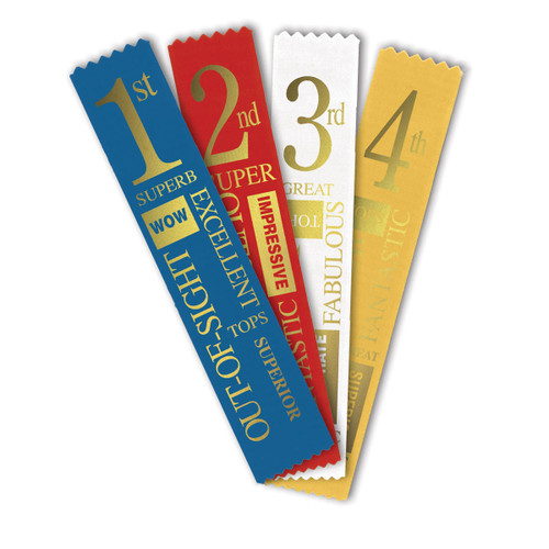assorted satin ribbons with foil-stamped place design