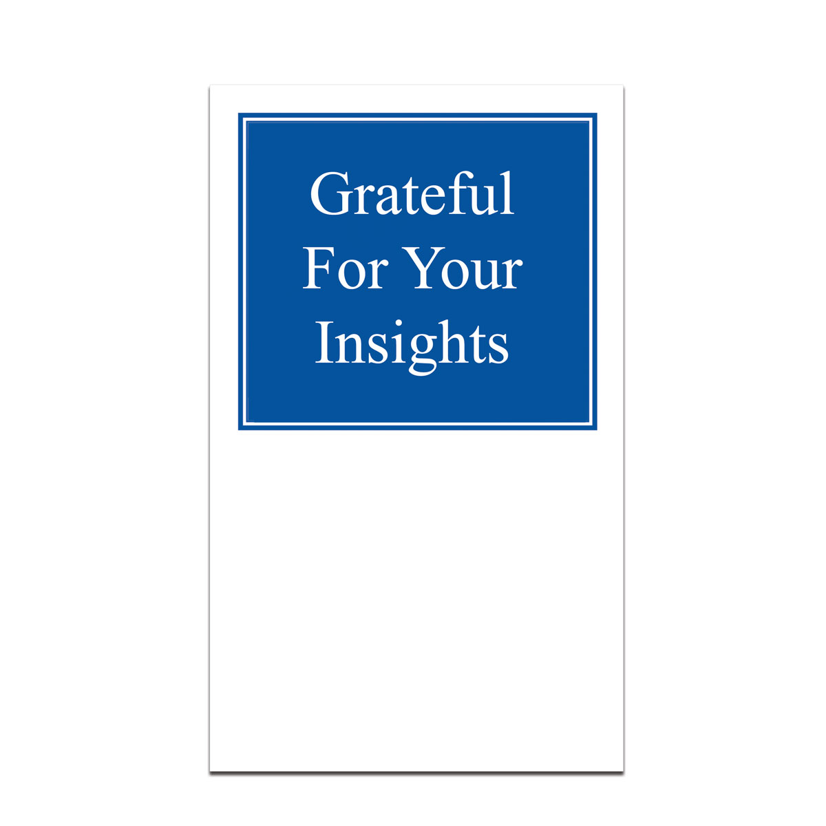 pocket card with grateful for your insights message