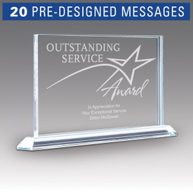 solid crystal tribute award with outstanding service message