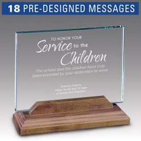 Hand cut premium jade glass in a solid walnut base with etched, pre-designed service to education message.