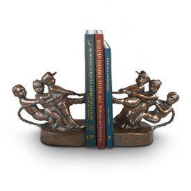 antiqued bronze bookends of kids pulling on a rope
