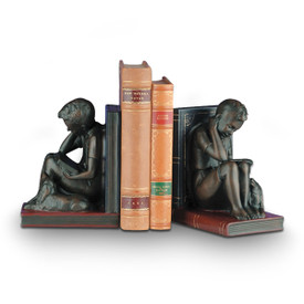 antique bronze-finished resin bookends with boys reading