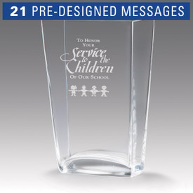 recognition crystal vase with service to children message