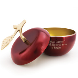 crimson apple dish with brass stem and personalization