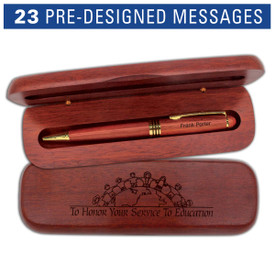 rosewood pen case set with service to education message