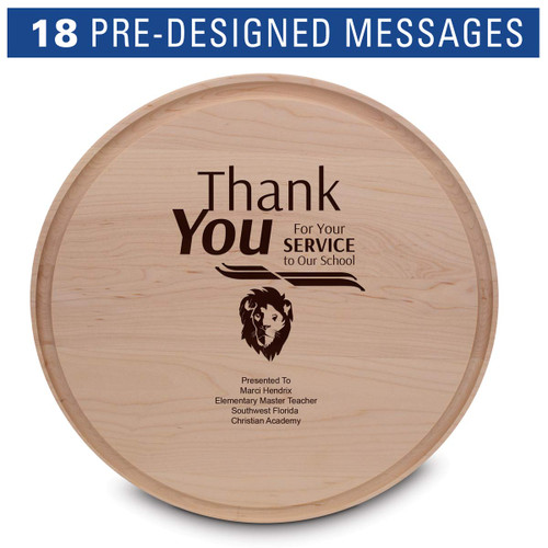 """14"""" round maple cutting board with juice well"""