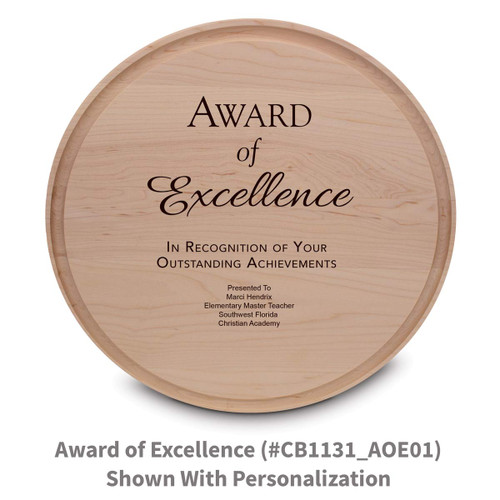 maple round cutting board with award of excellence message