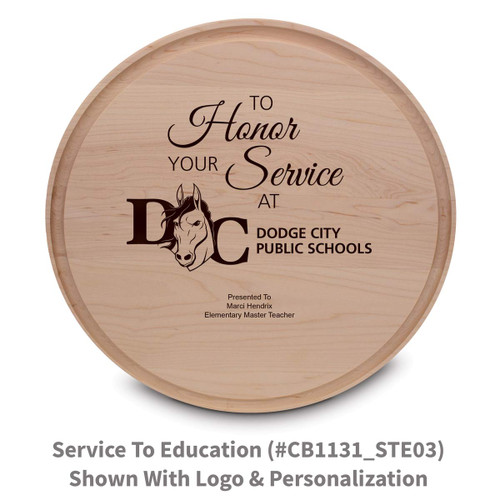 maple round cutting board with to honor your service message