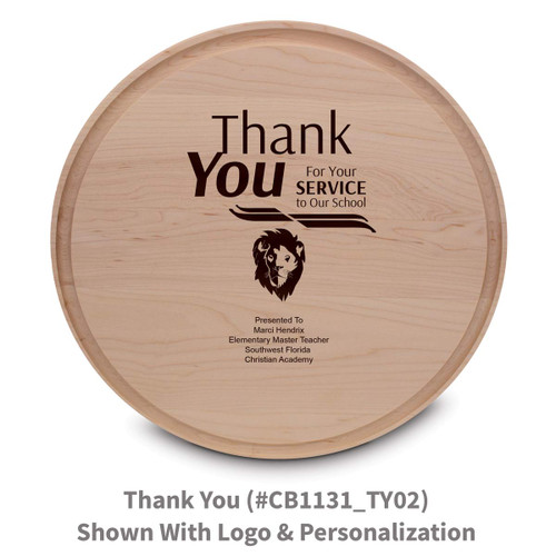 maple round cutting board with thank you message