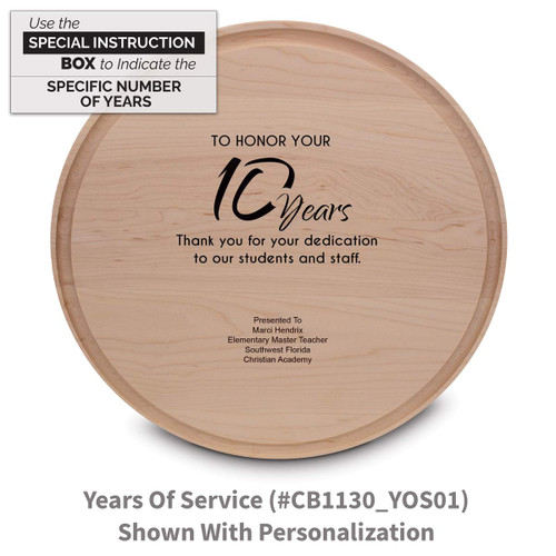 maple round cutting board with years of service message