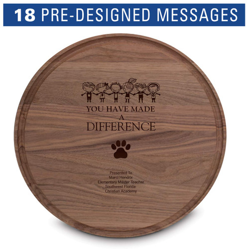 "14"" round walnut cutting board with juice well"