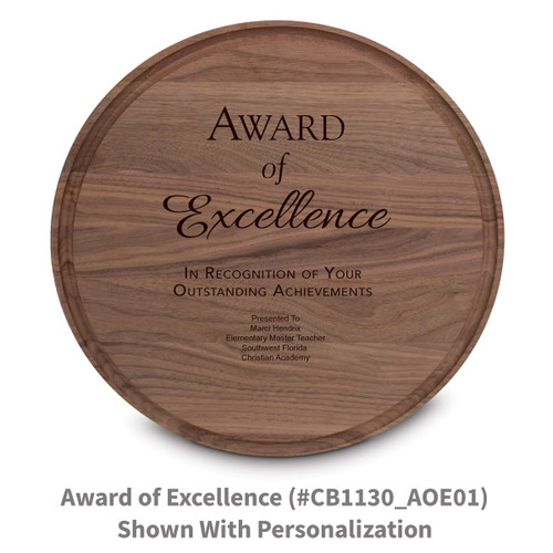 walnut round cutting board with award of excellence message