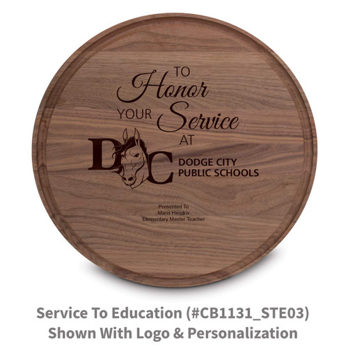 walnut round cutting board with to honor your service message