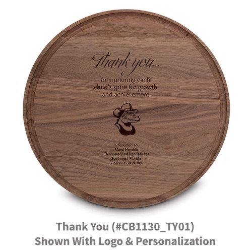 walnut round cutting board with thank you message