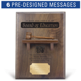 service to the board message on a walnut plaque with a shelf, wooden gavel and personalized brass plate