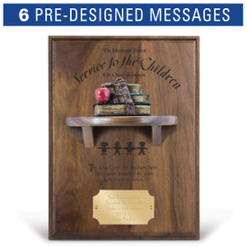 service to the children message on a walnut plaque with a shelf, resin stack of books and personalized brass plate