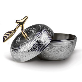 silver embossed apple dish with brass stem