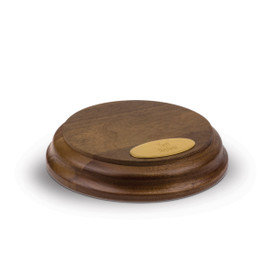 solid walnut small round base with personalized brass plate