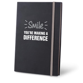 smile you're making a difference black journal with red accents and personalization