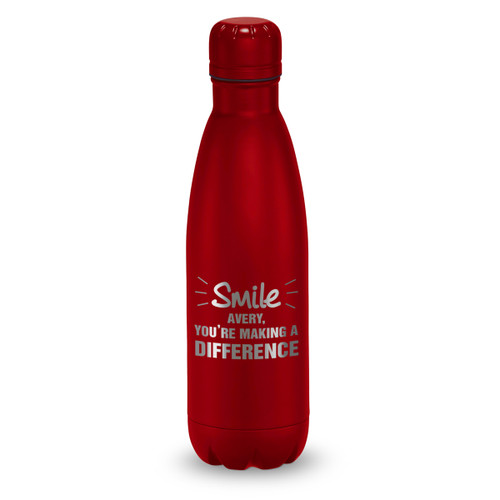 red stainless steel water bottle with smile you're making a difference message