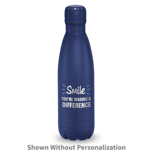 navy stainless steel water bottle with smile you're making a difference messag