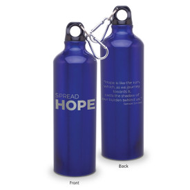 24oz. carabiner canteen featuring the inspirational message Spread Hope. 5 colors to choose from.