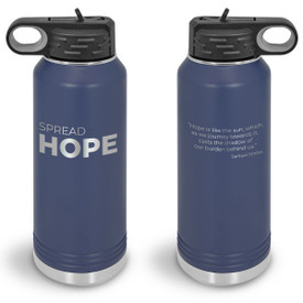 32oz. stainless steel water bottle featuring the inspirational message Spread Hope. 9 colors to choose from.