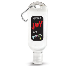 "1 oz. Antibacterial Hand Sanitizer Gel with Carabiner Featuring The Inspirational Message ""Spread Joy Not Germs"""