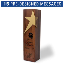 Solid walnut trophy with brushed gold star accent