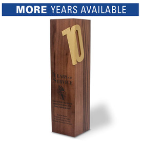 Solid walnut trophy with brushed gold years of service accents