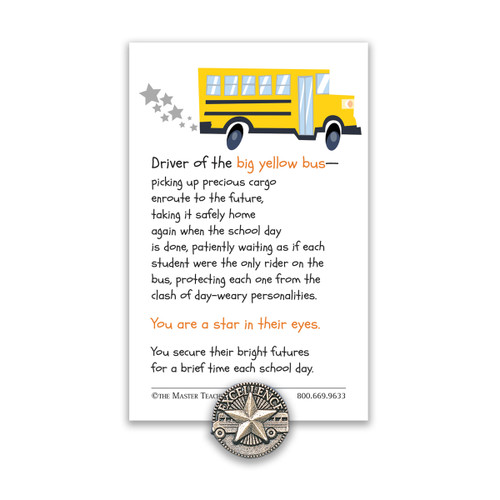 star bus driver lapel pin with message card