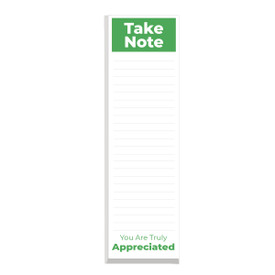 This slim notepad features the message take note you are truly appreciated on each sheet making it a great gift for teachers.