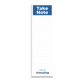 This slim notepad features the message take note you're amazing on each sheet making it a great gift for teachers.